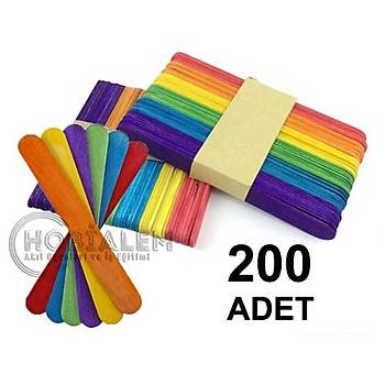 200 Adet, Renkli Dil Çubuðu, Dondurma Çubuðu, Geniþ Doktor Çubuðu, Abeslang, Maket Çubuðu