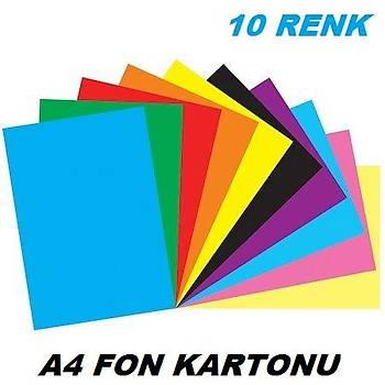 Renkli Fon Kartonu, 10 Renk, A4 Boyut, 25x35, Hobi, Eliþi Kartonu, Fon Karton