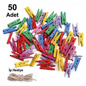 50 Adet, Mini Mandal, Karýþýk Renkli Mandallar, Fotoðraf Mandalý, 10 Metre Ýp, Minik Mandal