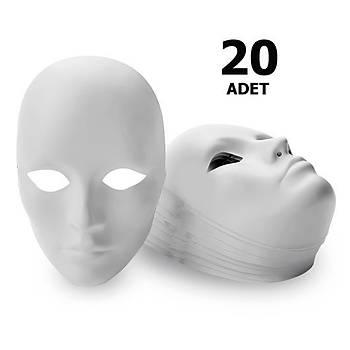 20 Adet, Karton Maske, Boyanabilir Eðitici Maske Boyama, Etkinlik ve Hobi Maskesi