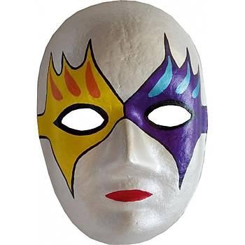 Maske Boyama Seti, 6 lý Boya Maske ve Fýrça, Eðitici Maske Boyama, Eðlenceli Aktivite