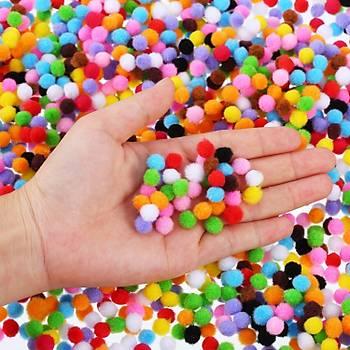 100 Adet, Ponpon, 10 mm Renkli Ponpon, Peluþ Ponpon, Minik Ponpon, Süsleme, ve Etkinlik Malzemesi