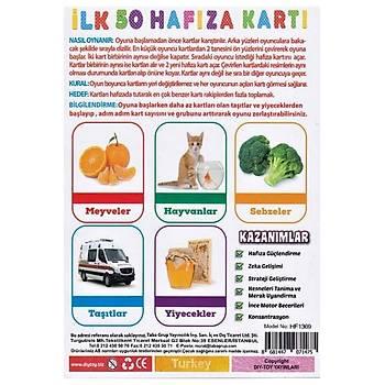 Diytoy, Ýlk 50 Hafýza Kartlarý, Eþleþtirme, Zeka Kartlarý,Eðitici Kartlar, Flash Cards