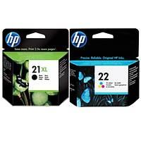 HP 21XL + 22 C9351CE + C9352AE Siyah ve Renkli Orjinal Kartuþ Set