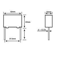 22uF 500Vdc 5% Polyester Kondansatör 27.5mm