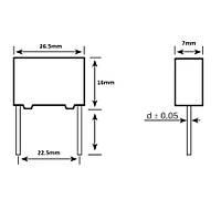 1.5uF 250Vdc 10% Polyester Kondansatör 22.5mm