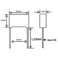220nF 310Vac 10% Polyester Kondansatör X2 15mm