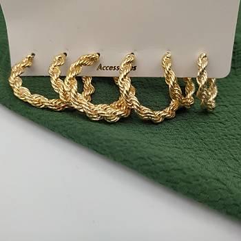 Üçlü Seri Burgulu Gold Küpe