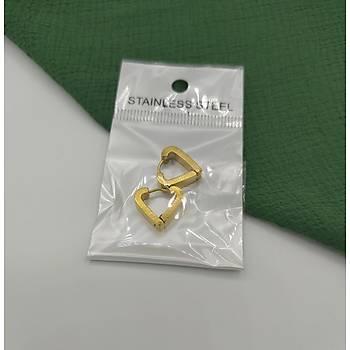Kalp Model Çelik Gold Küpe-2