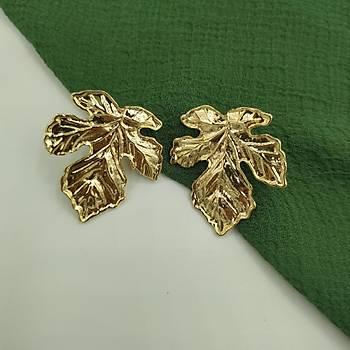 Çýnar Yapraðý Metal Küpe /Gold Model -1