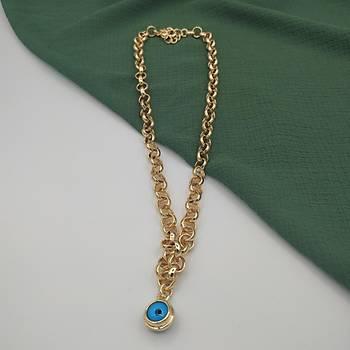 Mavi Boncuklu Gold Halka Kolye