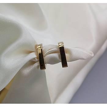 Üçgen Model Çelik Gold Küpe