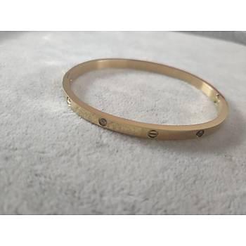 Çelik Cartier Taþlý Gold Bileklik/Ýnce Model