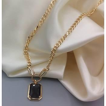 Siyah Kristal Taþlý Gold Kolye