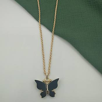 Sedef Kelebek Kolye / Siyah
