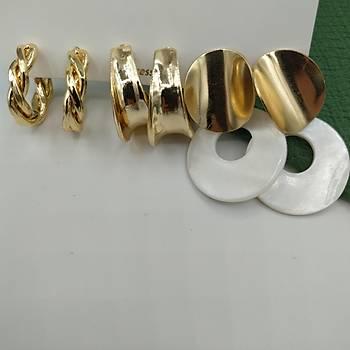 Üçlü Seri Gold Küpe - 4
