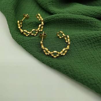 Van Cleef Çelik Halka Küpe / Gold