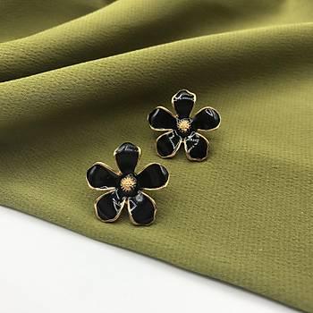 Mineli Çiçek Küpe Siyah