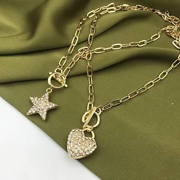 Taþ Ýþlemeli Kalp Kolye / Gold