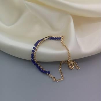 Kristal Boncuklu Zincir Halhal - Mavi