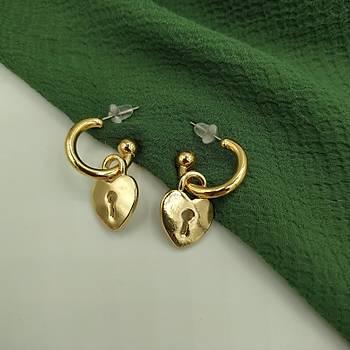 Kalp Anahtarý Küpe / Gold