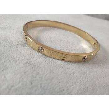 Çelik Cartier Taþlý Gold Bileklik