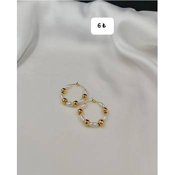 Ýncili Boncuklu Gold Halka Küpe / Mini Boy