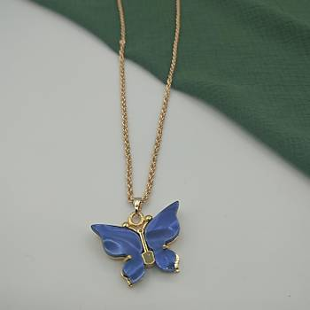 Sedef Kelebek Kolye / Mavi
