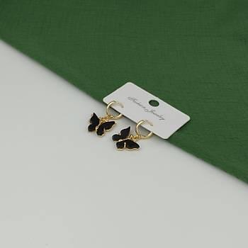 Sedef Kelebek Küpe / Siyah