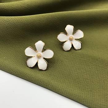 Mineli Çiçek Küpe Beyaz