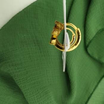 Renkli Zirkon Taþ Rüzgar Gülü Model Gold Küpe