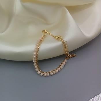 Kristal Boncuklu Zincir Halhal - Krem Renk
