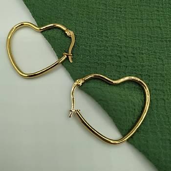 Kalp Modelli Çelik Gold Küpe