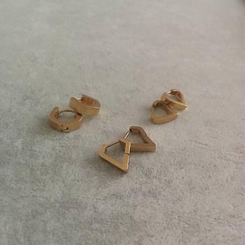 Köþeli Model Çelik Gold Küpe