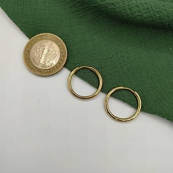 Çelik Gold Halka Küpe / Orta Boy