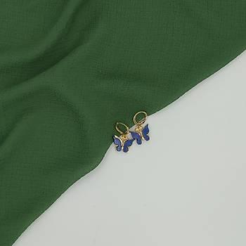 Sedef Kelebek Küpe / Lacivert
