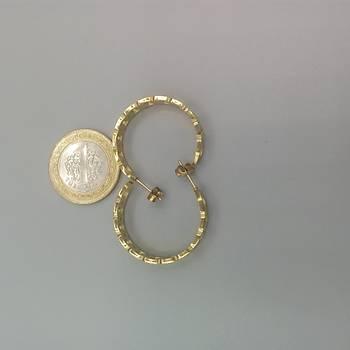 Zincir Model Çelik Halka Küpe-4/Gold