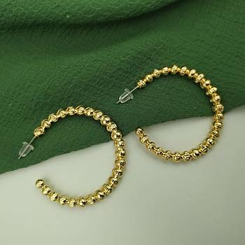 Boncuk Model Gold Halka Küpe