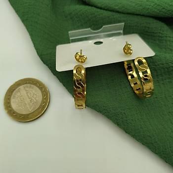 Zincir Model Çelik Halka Küpe / Gold