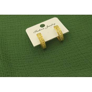 Zirkon Taþlý Gold Küpe / Ýnce Model