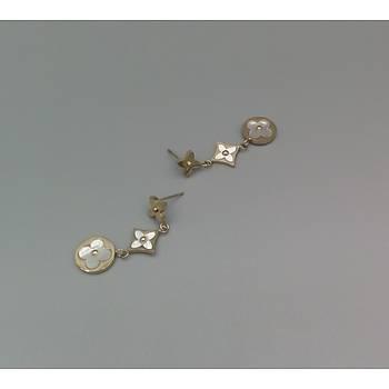 Sedefli Salýntý Yonca-Çiçek Çelik Küpe - Gold