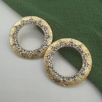 Kristal Taþlý Zarif Desen Halka Küpe / Gold