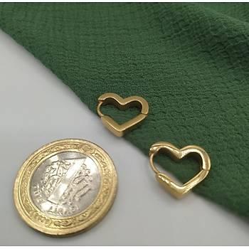 Kalp Model Çelik Gold Küpe