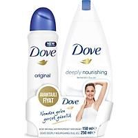 Dove Kadýn Sprey Deodorant Original 150 ml +Dove Deeply Nourishing Duþ Jeli 250 ml Set