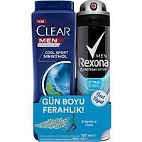 Rexona Xtra Cool Erkek Sprey Deodorant 150 ml + Clear Men Cool Sport Þampuan 180 ml Set