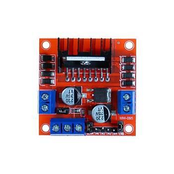 L298N Voltaj Regulatörlü Çift Motor Sürücü Kartý (Kýrmýzý PCB)