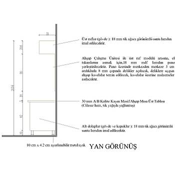 Ahþap Çalýþma Ünitesi (180cm x 90cm x 60cm) ve Üst Raflar (180cm x 29cm x 35cm)