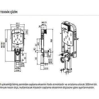 Creavit Gömme Rezervuar Gr5001 Asma Klozet 3/6 LT (Sadece Gömme)