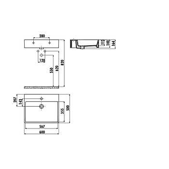 Creavit NX260 Next 50x60 cm Setüstü Düz Kare Lavabo