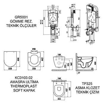CREAVÝT GÖMME REZERVUAR GR5001 ASMA KLOZET TP325 SOFTKAPAK KC5000